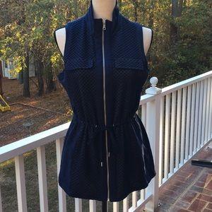 Women's Knit Zipper Drawstring Vest